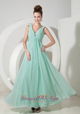 V Neck Beading Apple Green Prom Evening Dresses