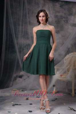 Dark Green Homecoming Prom Dress Ruched Chiffon