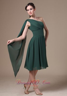 Hunter Green One Shoulder Homecoming Dress Watteau Train
