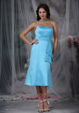 Aqua Blue Empire Waist Bridesmaid Dress Tea-length