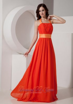 Orange Red Halter Party Homecoming Dress for Prom with Sash