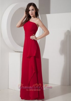 Carmine Empire One Shoulder Prom Formal Wear Chiffon