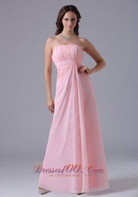Baby Pink Bridesmaid Maxi Dress Ruched Gather