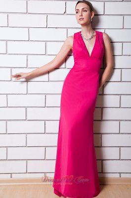 Hot Pink V-neck Prom Dress Peekaboo Keyhole Design