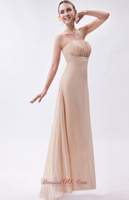 Wheat Fashion Color Bridesmaid Formal Dress Asymmetric