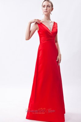 Bright Red Pluging V-neck Bridesmaid Wear 2013