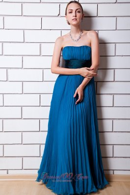Dodger Blue Pleat Prom Party Wear Maxi Strapless