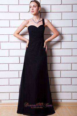 Black Trends One Shoulder Bridesmaid Dress Chiffon