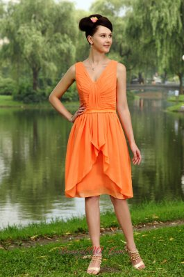 Orange Empire Junior Bridesmaid Dress V-neck Gather