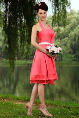Coral Red Halter Prom Homecoming Dress Sash Knee-length