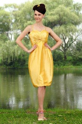 Orange Yellow Cocktail Dress Spaghetti Straps Knee-length