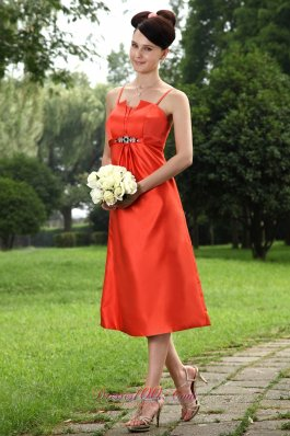 Orange Red Straps Bridesmaid Dress Tea-length Asym