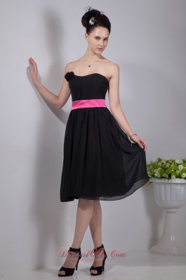 Bateau Neckline Little Black Dress Sash Colored Floral