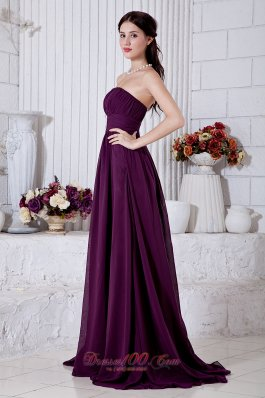 Grape Purple Front Split Prom Evening Gowns Empire Ruch