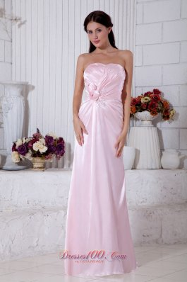 Light Pink Empire Pleats Bridesmaid Dress Strapless Beads