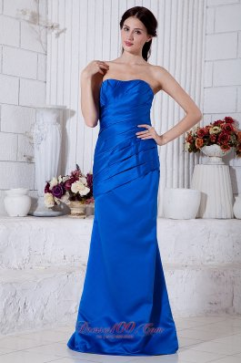 Royal Blue Gather Mother Of The Bride Dress Strapless Ruch