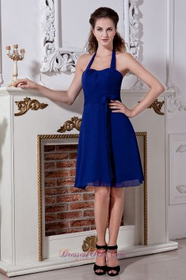 Dark Blue Empire Halter Jr.Bridesmaid Dresses Bow