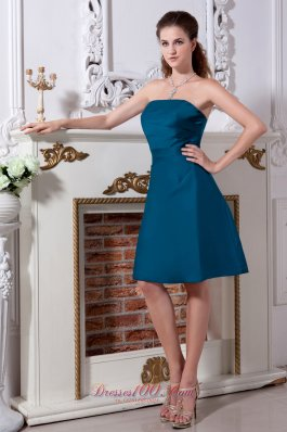 Teal Strapless Bridesmaid Dress Knee-length Ruching
