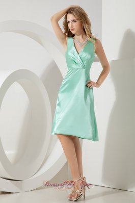 Apple Green V-neck Dress for Maid of Honor Knee-length