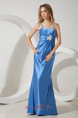 Sky Blue Straps Prom Evening Dress Appliques Brooch