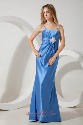 Sky Blue Straps Prom Evening Dress Appliques Brooch