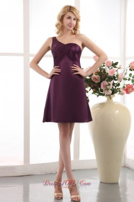 Grape One Shoulder Mini-length Bridesmaid Dress Under 100