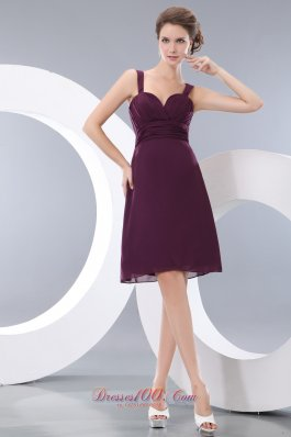 Grape Straps Bridesmaid Dress Cool Style Knee-length