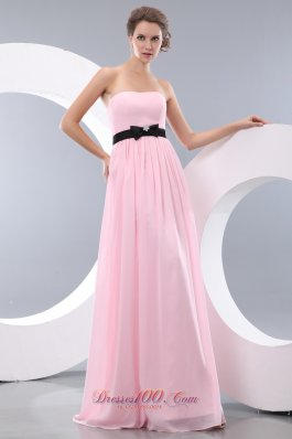 Baby Pink Empire Bow Belt Bridesmaid Dress Maxi Colored