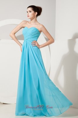 Aqua Blue Empire Gather Bridesmaid Dress Sweetheart Ruch - US$133.57
