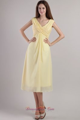 Light Yellow Cross Straps Bridesmaid Dress Ankle-length
