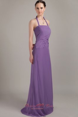Lavender Halter Bridesmaid Dress Chiffon Ruching