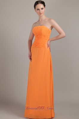 Orange Strapless Bridesmaid Formal Dress Ruch Customize