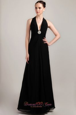 Black Halter Formal Prom Evening Wear Sexy Brooch