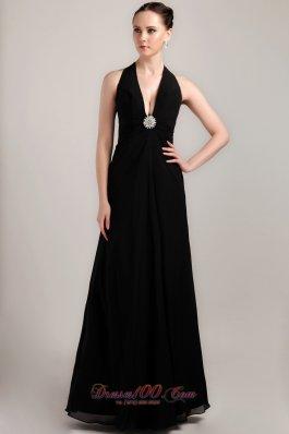 Black Halter Formal Prom Evening Wear Sexy Brooch