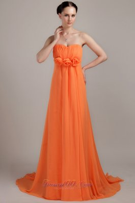 Orange Empire Plus Size Prom Dress Handmade Flowers Brush
