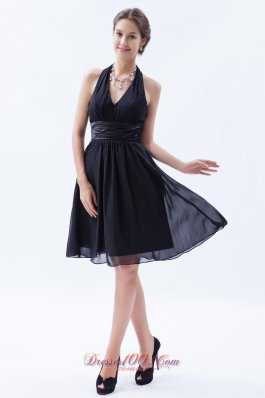Black Empire Halter LBD for Bridesmaid Wrapped Style