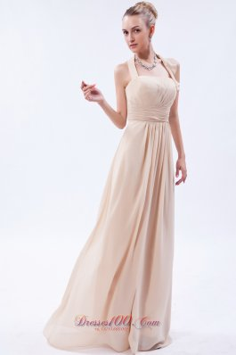 Linen Custom Color Empire Halter Bridesmaid Dress Ruch