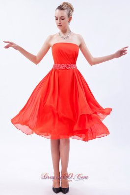 Orange Red Empire Prom Dress Beaded Belt Knee-length