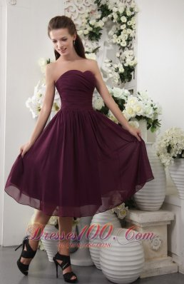 Grape Tea-length Pleat Bridesmaid Dress Empire Sweetheart