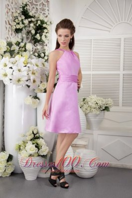 Lavender High-neck Dress for Bridesmaids Knee-length
