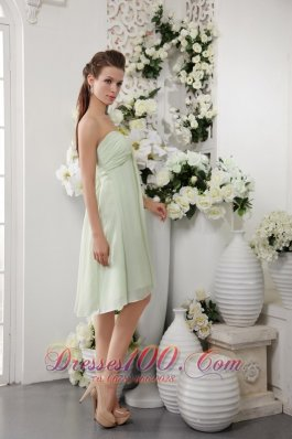 Light Green Empire Asym Bridesmaid Dress Strapless Chiffon