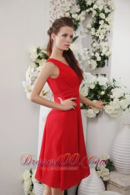 Bright Red Empire V-neck Dress for Junior Bridesmaids