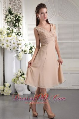 Khaki Color Bridesmaid Dress Cross Straps Empire Tea-length