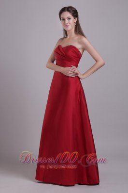 Wine Red Prom Formal Wears Sweetheart Gather 2015