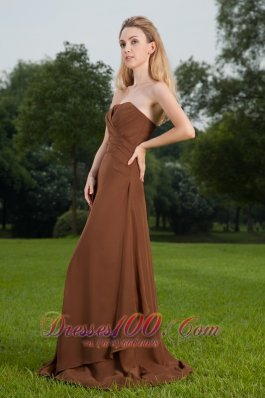 Sienna Brown Sheath Bridesmaid Dress Strapless Brush