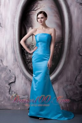 Sky Blue Asym Brush Train Formal Evening Bridesmaid Dress