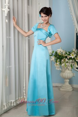 Aqua Blue Formal Gowns for Bridesmaids with Jacket