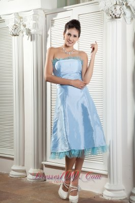 Flounced Neckline Sky Blue Bridesmaid Dress Tea-length