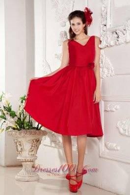 Dark Red Bridesmaid Dress Floral V-neck Knee-length