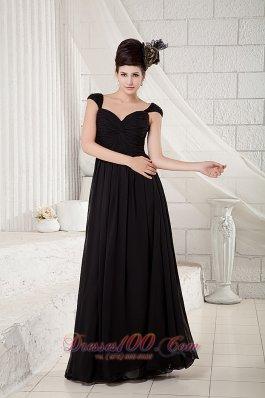 Black Cap Sleeves Little Black Dress Chiffon Beading